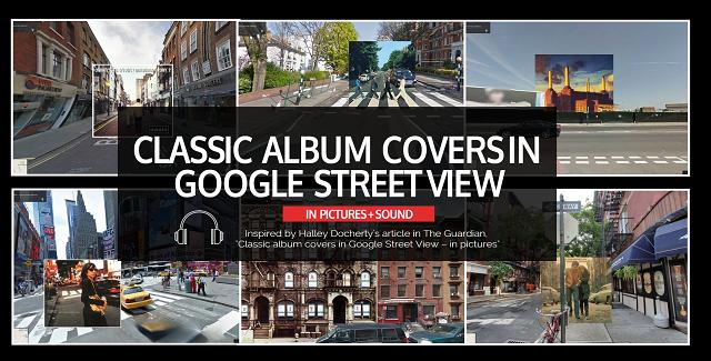 classic album covers in google street view