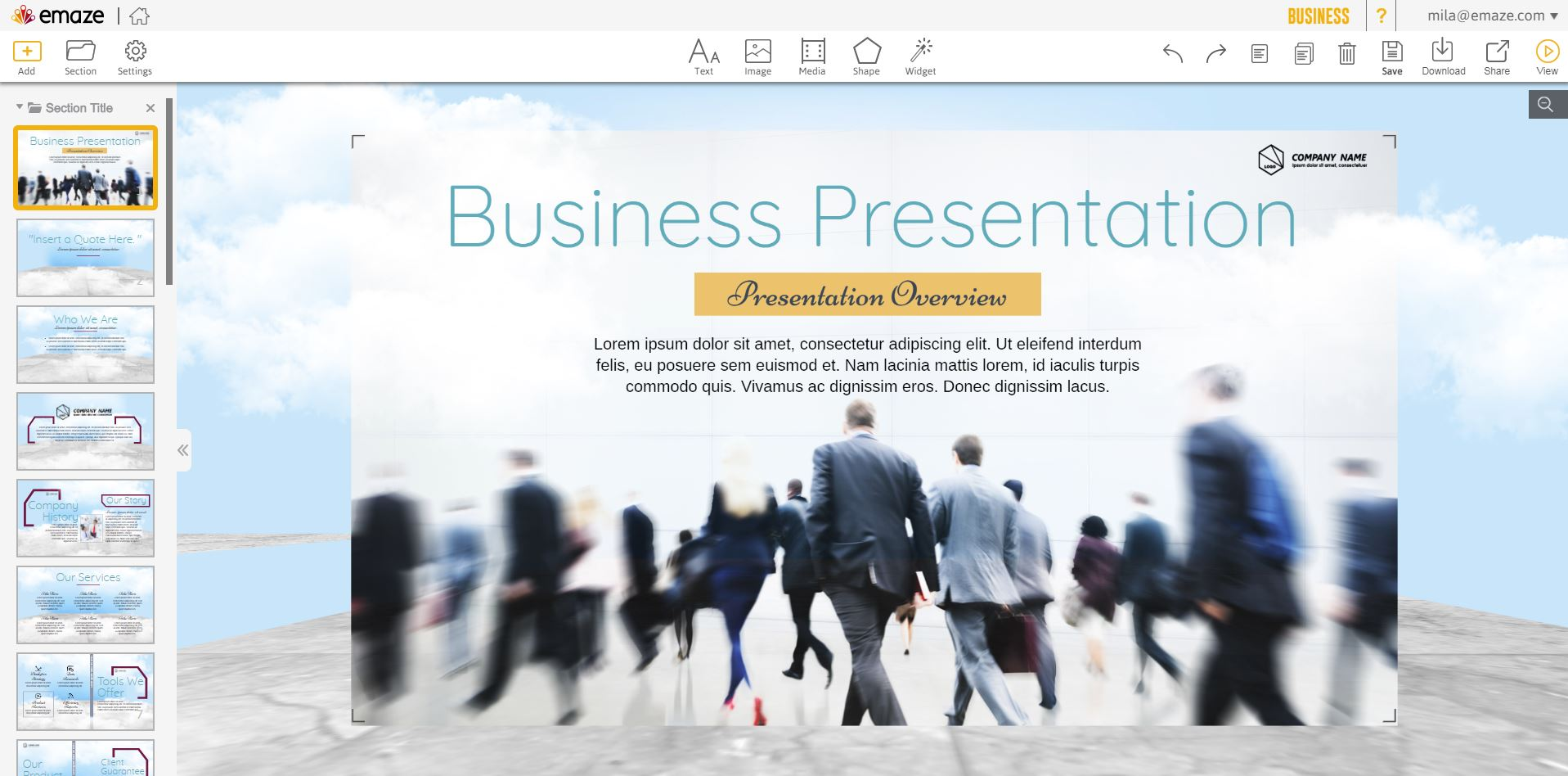 Emaze editor for business presentation